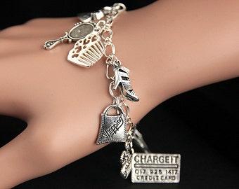 Shopping Bracelet. Shopping Charm Bracelet. Shopping Trip Bracelet. Shopping Jewelry. Silver Bracelet. Handmade Jewelry.
