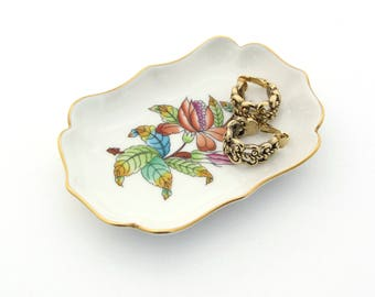 Herend Porcelain | Ceramic Trinket Dish | Herend Hungary | Porcelain Ring Dish | Hand Painted Flowers | Jewelry Dish | Ceramic Ring Dish