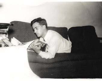 "Vintage Snapshot ""Keeping Up"" Reclining Man Reading Life Magazine 1941 Found Vernacular Photo"