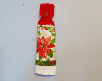 Hanging Kitchen Towel Crochet Top Doubled Christmas Poinsettia Holy Red Flowers