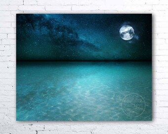 ocean photography - ocean photograph horizon - sea wall art print - night sky photograph - moon and stars photograph