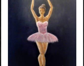Ballerina painting, girls room decor, gift for dancer, ballerina artwork, ballet wall art, dancer painting, dancer wall decor, dancer gift