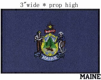 State of Maine Flag Iron On Patch 3 x 2 inch Free Shipping (Medium)