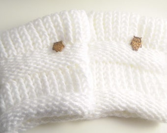 Handmade Knit Boot Cuffs / Boot Toppers (Snow White)