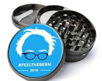 Feel The Bern Bernie Sanders 2016 Extra Large 5 Piece Spice Tobacco Herb Grinder with Pollen/Keef Catcher - Best Weed Grinders for Sale