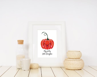 My Pretty Little Pumpkin Instant download printable poster, funny typography wall art posters, Halloween poster, Wall decor, Digital art