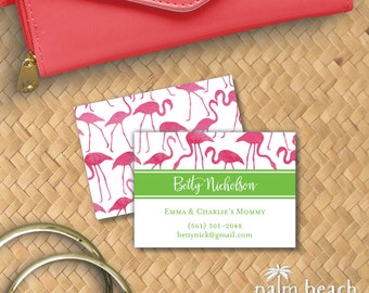 Watercolor Flamingos Calling Cards - Personalized Contact Cards - Casual Business Card - Preppy Mommy Card - Personal Phone Email Card