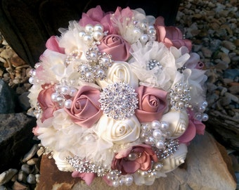 Romantic Dusty Rose And Ivory Fabric Flower and Brooch Bouquet, Dusty Rose Deep Blush Brooch Bouquet, Blush Rose Bouquet
