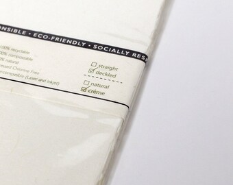 25 Shts 8.5x14 in Printable Natural Paper (Deckled Edge) (Cream) PH1414