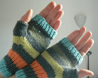 Fingerless multicoloured gloves handknit pure merino  / striped handwarmers handknit / knit accessory / gift for her / mother day