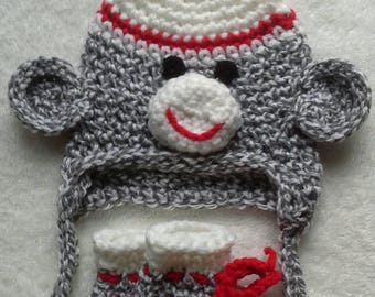 Newborn baby sock monkey hat & booties gift set