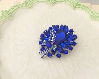 Royal Blue Bridal Brooch.Royal Blue Rhinestone Brooch.Royal Blue Crystal Brooch.Blue Silver Brooch pin.broach.Royal Blue Brooch Pin.wedding