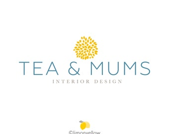 Premade Logo - Tea and Mums - Flower Logo - Jewelry Photography Blogger Designer Logo Branding