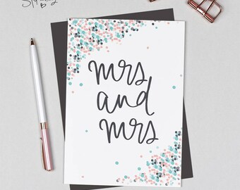Mrs and Mrs - Lesbian Wedding Card - LBGT - Civil Partnership
