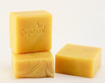 Gold bar soap / Shea butter & Lavender EO / Orgatural Handmade Soap /  Cold Process Artisan Soap / 100% natural Soap /
