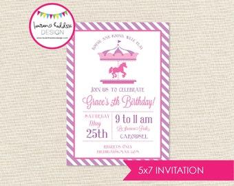 Carousel Birthday Invitation, Carousel Birthday, Carousel Printables, Carousel Birthday Decorations, Lauren Haddox Designs