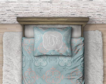 Monogram Boho Bedding - Personalized Teen Bedding - Custom Duvet - College Dorm Bedding Set - Boho Bedroom