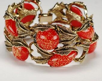 Selro Red Lucite Glitter Bracelet