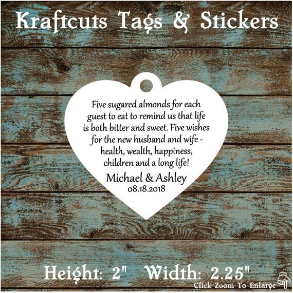 Favor Tags, Jordan Almond Favor Tags, Sugared Almond Favor Tags, Italian Wedding Favor Tags, Heart #690 - Quantity: 30 Tags