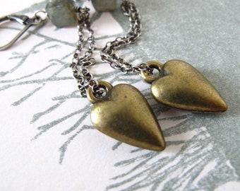 heart earrings - sterling silver, brass & labradorite feather dusters