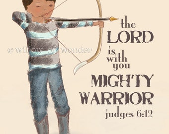 archery boy scripture art print