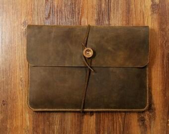 """Simple Vintage retro distressed leather sleeve for 12 """" new macbook / macbook air 11"""" 13 """" / macbook pro retina 13"""" 15 """" sleeve  MACX05S-N"""