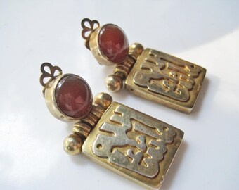 MashAllah Earrings, Vintage Egyptian Silver and Carnelian Clip on Earrings, Arabic Calligraphy, Ethnic Jewelry