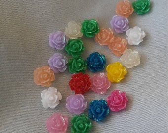 50pcs 10mm glitter resin rose flower rhinestone gems flat back round for crafts wedding party
