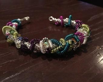 wire beaded bangle bracelet