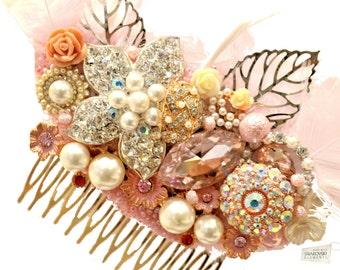 Cristal de Swarovski Baby Pink Oro Marfil Plata Gatsby Feather 1920 Crystal Classic Vintage peine del pelo nupcial Deslice pieza