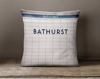 Toronto Subway Sign Pillow - Bathurst Station Subway Art, Made in Canada Blue and White Home Decor - 16x16 or 20x20 Throw Pillow