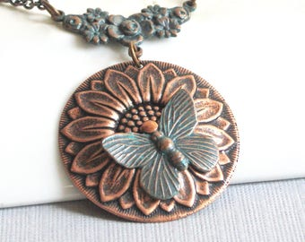 Sunflower Necklace - Butterfly Necklace, Botanical Jewelry, Copper Sunflower, Patina Jewelry, Flower Jewelry, Garden Necklace, Nature