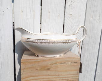 Vintage Pope Gosser China Gravy Boat in White and Gold - Cottage Kitchen from the 1920-1930s