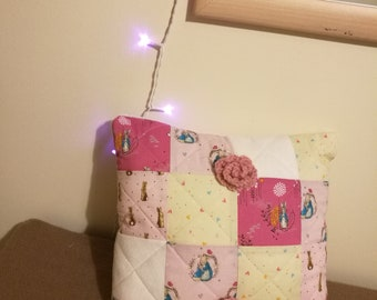 Pink Peter Rabbit Quilted Cushion