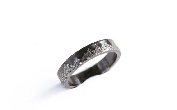 Sterling silver men's mountain wedding ring, men's nature wedding ring