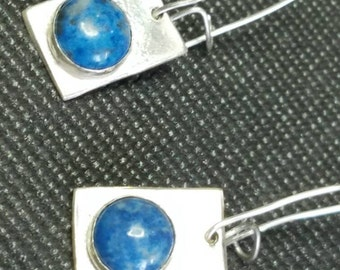 Sterling silver and denim lapis dangle earrings
