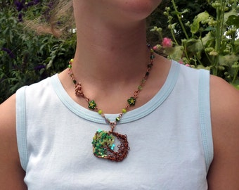 Necklace square Medallion tree green