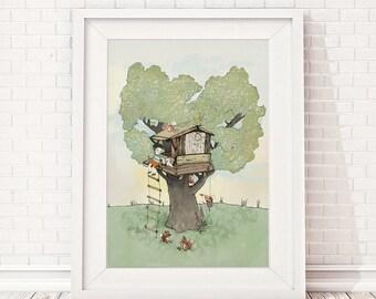 Tree house, Nursery wall art boy, nursery wall decor boy, nursery decor boy, kids room decor, nursery wall decor, nursery animal wall art