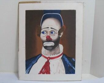 Red Skelton Clown Original Art Work, Vintage Joey Pastel Chalk Art