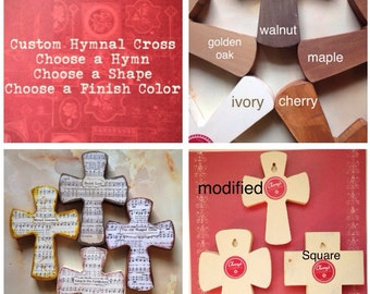 Wood Hymnal Crosses Custom Selection MADE TO ORDER