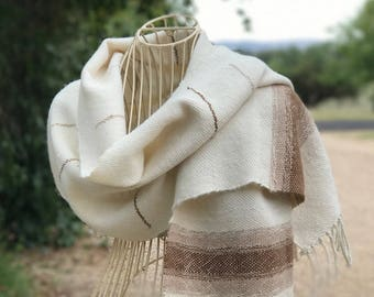 Handwoven Suri Alpaca Scarf in Natural Undyed Colours