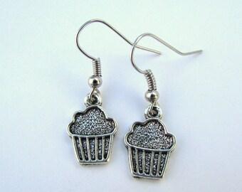 Antique Silver Birthday Cupcake Dangle Earrings (E44)