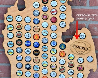 Beer Cap Map Craft Beer Cap Map Cap Map Beer Caps Beer Bottle - Michigan bottle cap map
