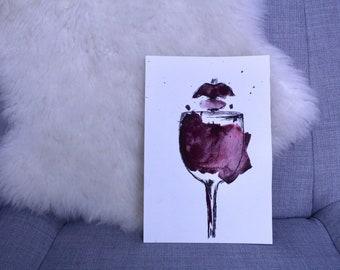 Original Watercolor/Ink Red Wine Lips