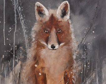 RED FOX PAINTING * Wildlife Art * Animal Painting on stretched canvas ready to hang * Free Shipping to United States America