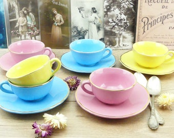 French cups - Tea Cups - Coffee Cups - Antique french cups - Pink cups - Yellow cups- Blue cups - 1950 cups - vintage cups - Rockabilly