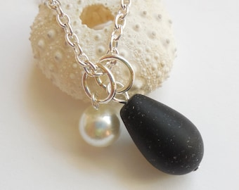 Jet Black Sea Glass Necklace, Beach Glass Necklace, Sea Glass Jewelry, Beach Glass Jewelery, Bridesmaid necklace, Free Shipping in US