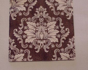 X 20 paper napkins - Deco brown white flowers - 33 cm x 33 cm - Table decor / decoupage Collage
