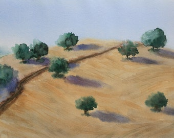 Olive trees. ORIGINAL watercolor painting