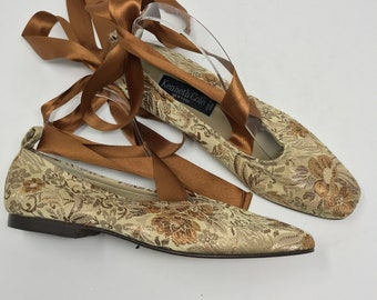 Vintage 90's New Kenneth Cole Lace Up Tapestry Ballet Flats size 8